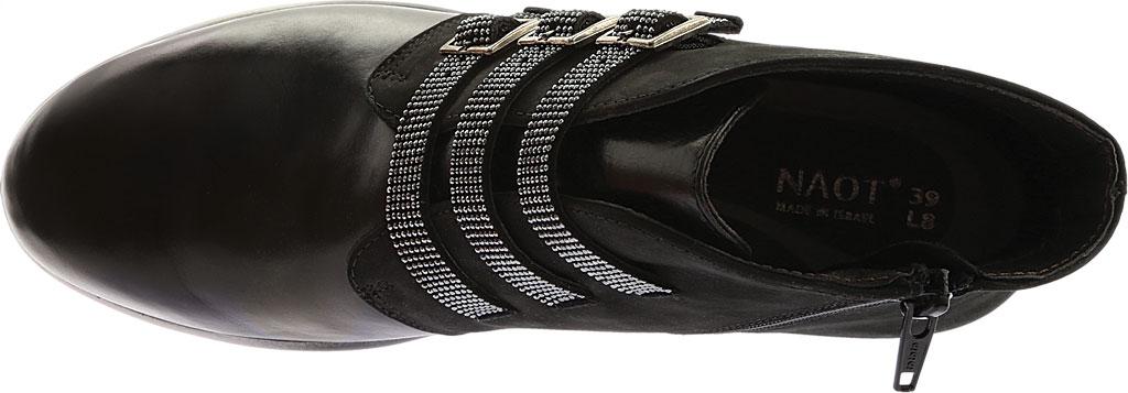 Women's Naot Vardar Rhinestone Strap Bootie, Black Madras Leather/Black Velvet Nubuck, large, image 5