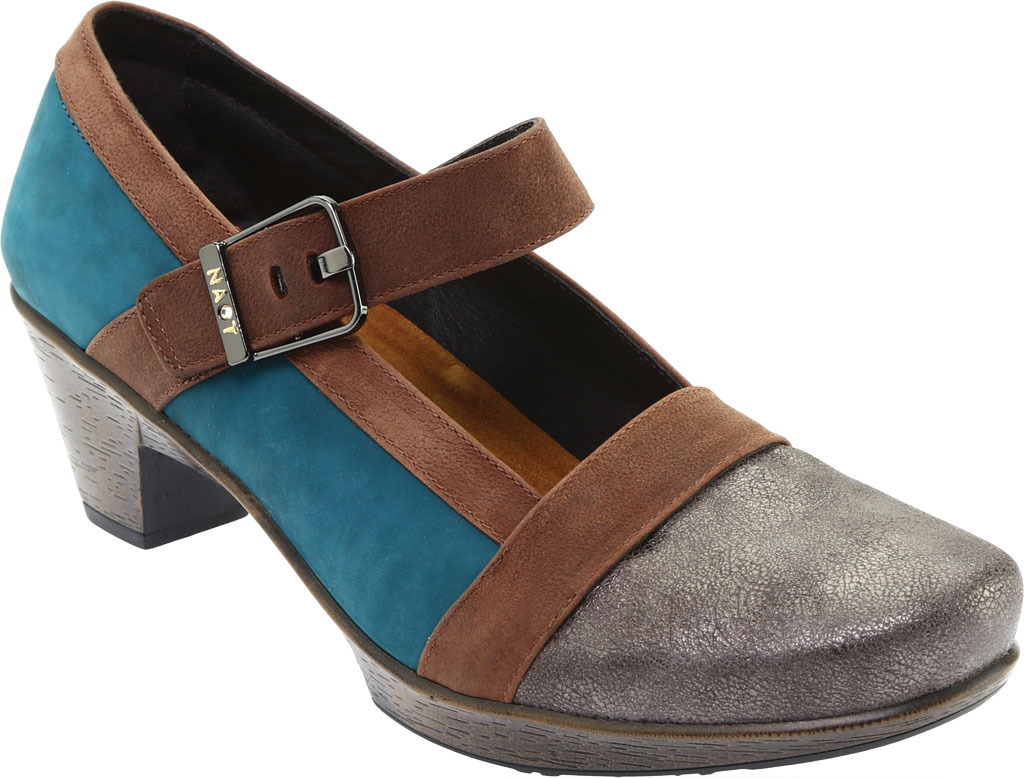 Women's Naot Dashing Mary Jane, Grey Shimmer Leather/Teal Nubuck/Brown Leather, large, image 1