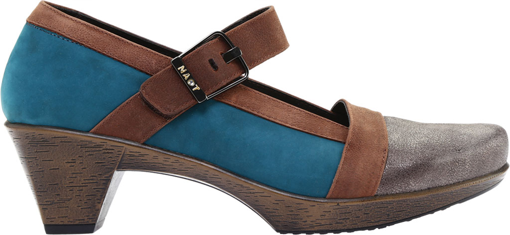 Women's Naot Dashing Mary Jane, Grey Shimmer Leather/Teal Nubuck/Brown Leather, large, image 2