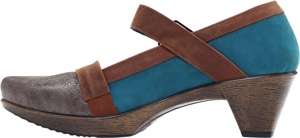 Women's Naot Dashing Mary Jane, Grey Shimmer Leather/Teal Nubuck/Brown Leather, large, image 3