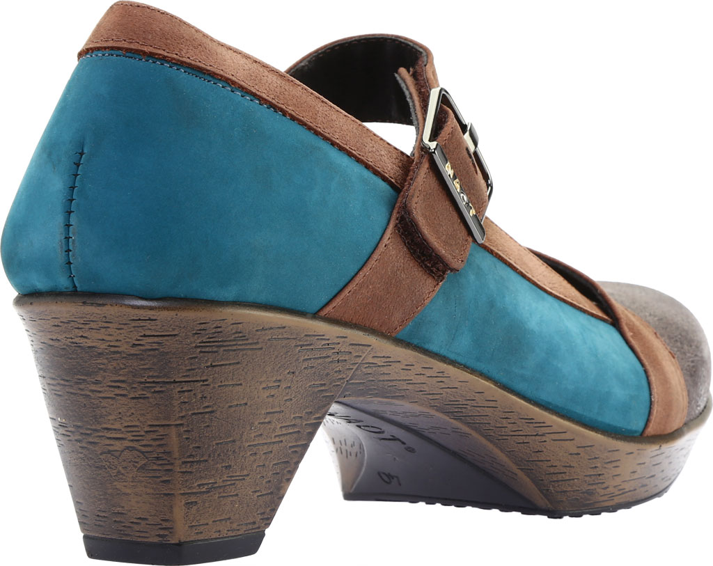 Women's Naot Dashing Mary Jane, Grey Shimmer Leather/Teal Nubuck/Brown Leather, large, image 4
