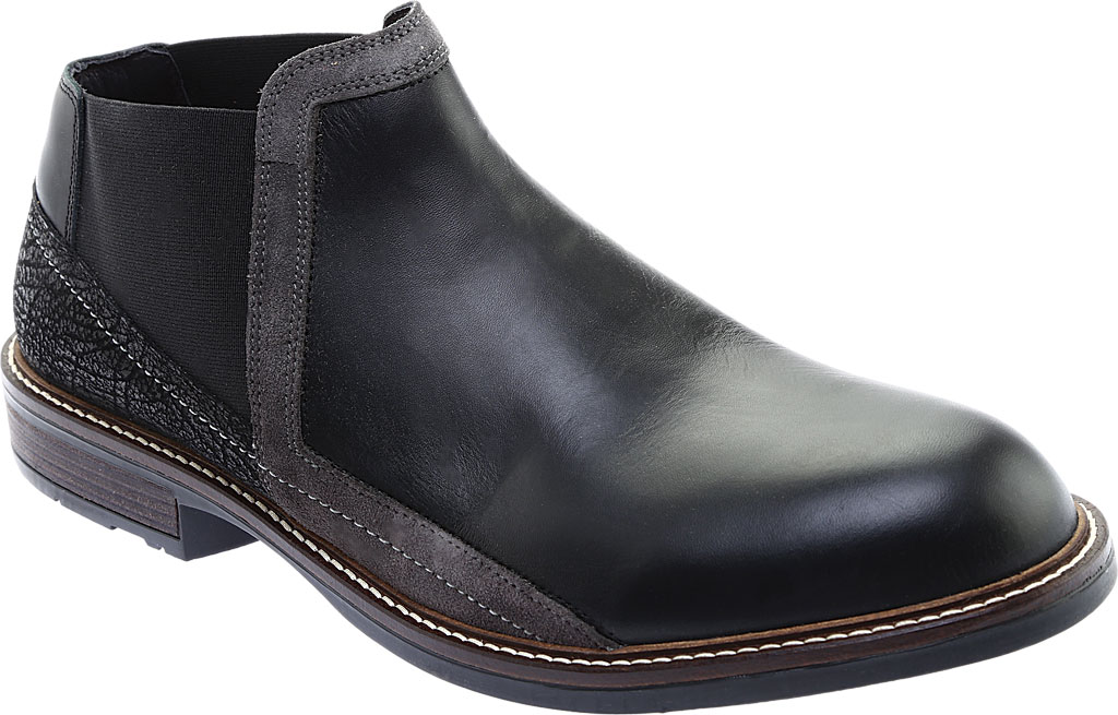 Men's Naot Business Chelsea Boot, Black Raven Leather/Black Crackle Leather, large, image 1