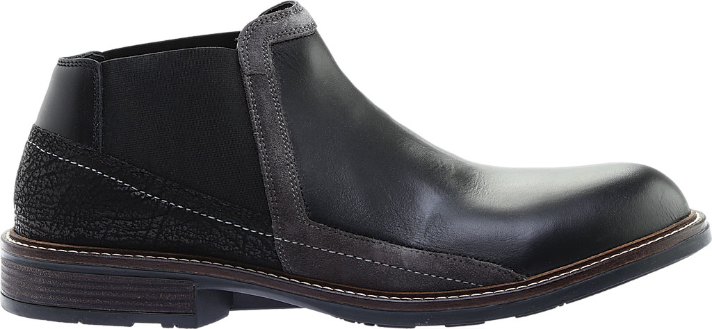 Men's Naot Business Chelsea Boot, Black Raven Leather/Black Crackle Leather, large, image 2