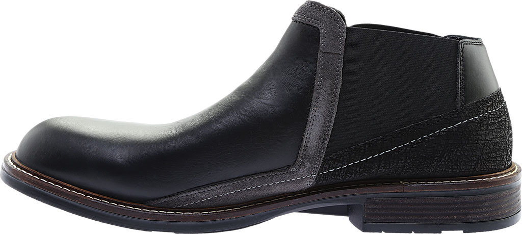 Men's Naot Business Chelsea Boot, Black Raven Leather/Black Crackle Leather, large, image 3