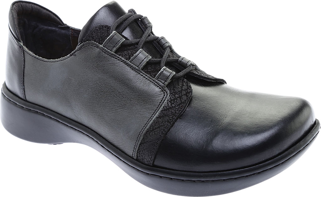Women's Naot Riviera Lace Up Shoe, Black Madras Leather/Tin Gray Leather Combo, large, image 1