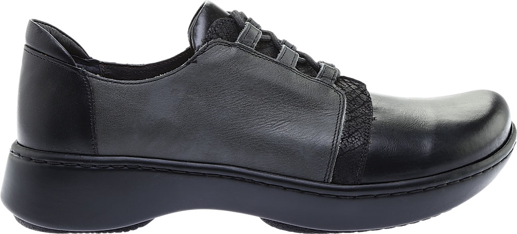 Women's Naot Riviera Lace Up Shoe, Black Madras Leather/Tin Gray Leather Combo, large, image 2