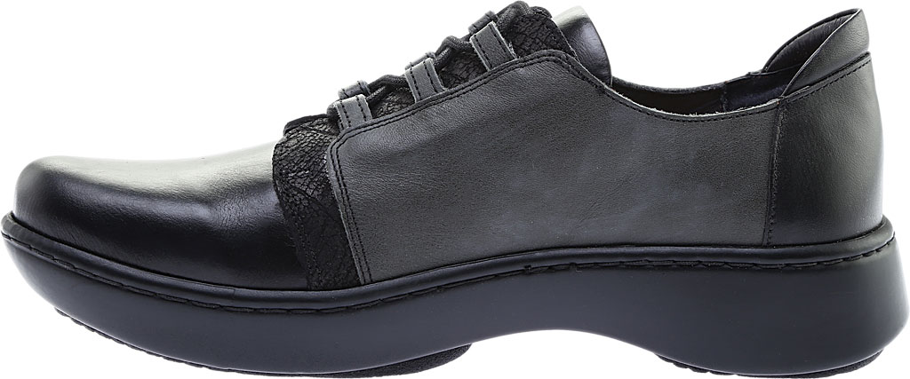 Women's Naot Riviera Lace Up Shoe, Black Madras Leather/Tin Gray Leather Combo, large, image 3