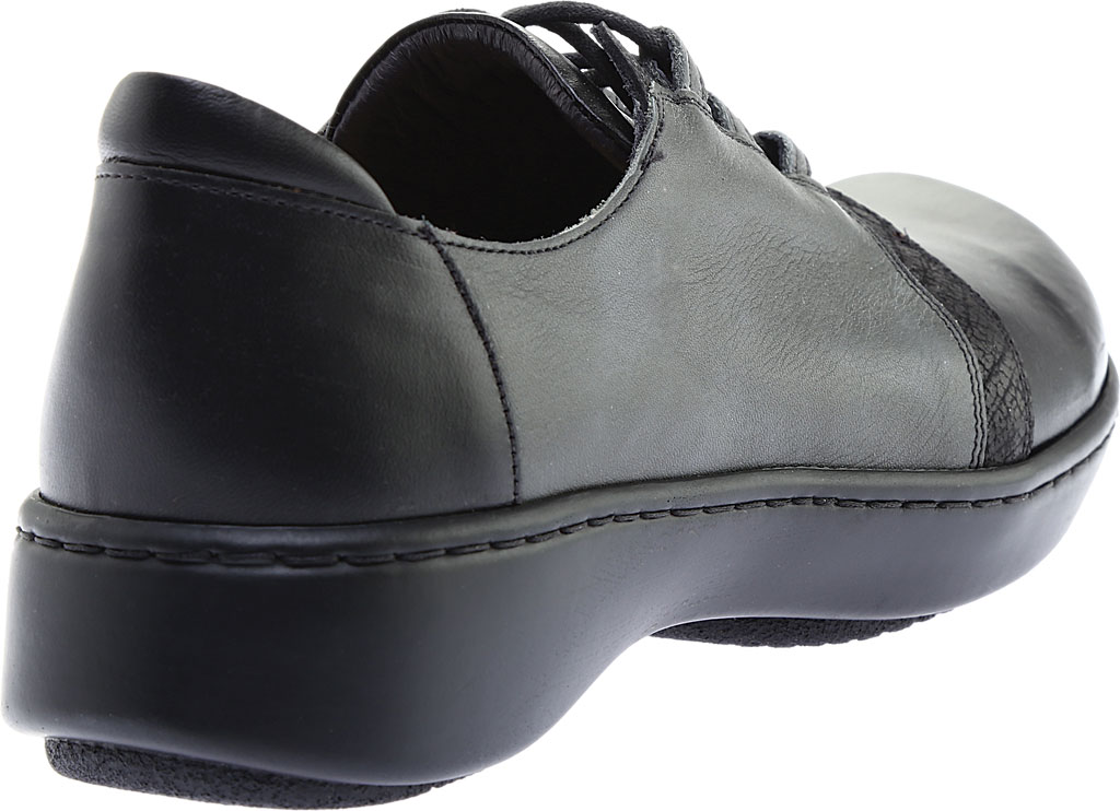 Women's Naot Riviera Lace Up Shoe, Black Madras Leather/Tin Gray Leather Combo, large, image 4