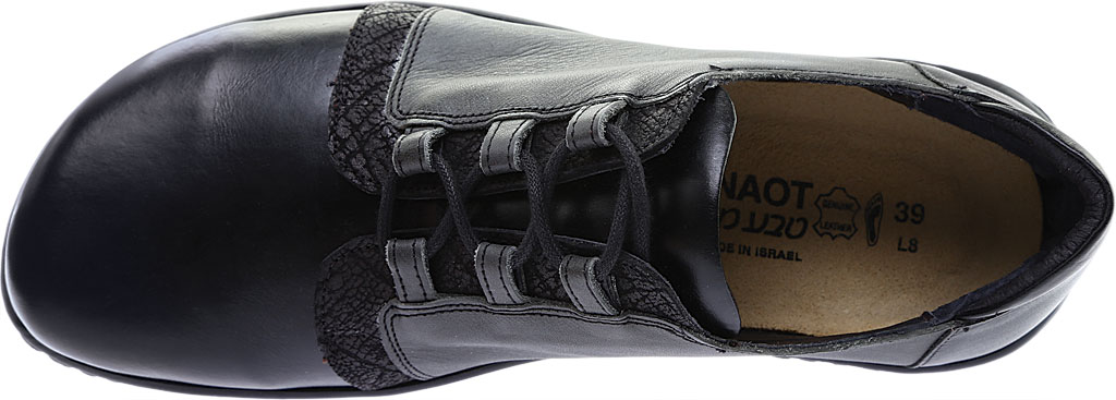 Women's Naot Riviera Lace Up Shoe, Black Madras Leather/Tin Gray Leather Combo, large, image 5
