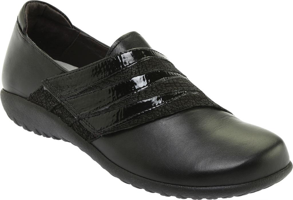 Women's Naot Rapoka Adjustable Strap Shoe, Black Raven/Black Crackle/Jet Black Leather, large, image 1