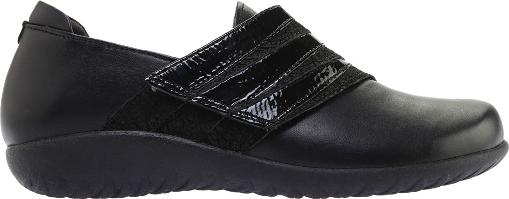 Women's Naot Rapoka Adjustable Strap Shoe, Black Raven/Black Crackle/Jet Black Leather, large, image 2