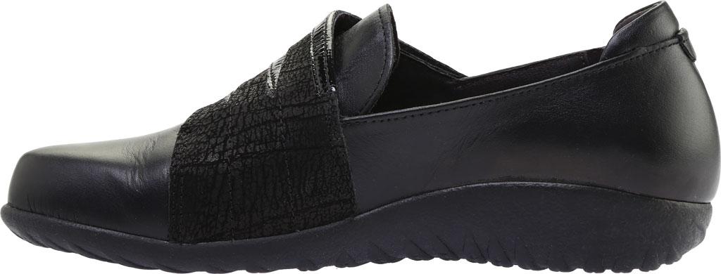 Women's Naot Rapoka Adjustable Strap Shoe, Black Raven/Black Crackle/Jet Black Leather, large, image 3