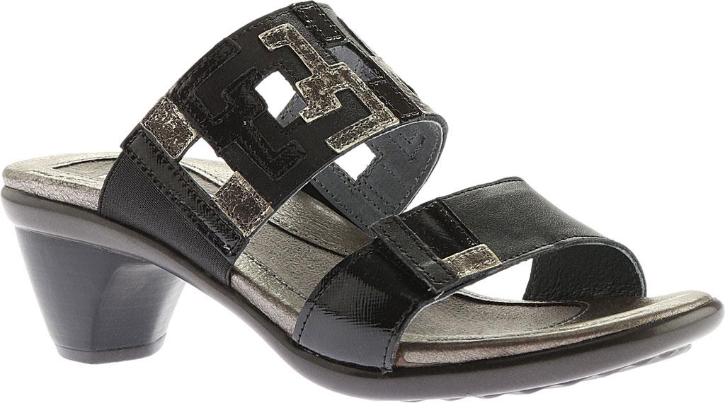 Women's Naot Chic Quarter Strap Sandal, Black Raven Lthr/Black Luster Lthr/Metal Lthr, large, image 1