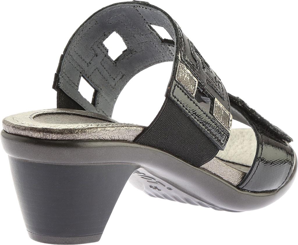 Women's Naot Chic Quarter Strap Sandal, Black Raven Lthr/Black Luster Lthr/Metal Lthr, large, image 4