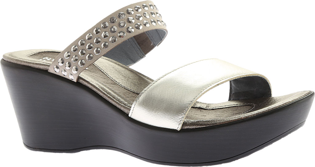 Women's Naot Response Wedge Sandal, Luster Leather/Gray with Silver Rhinestone, large, image 1