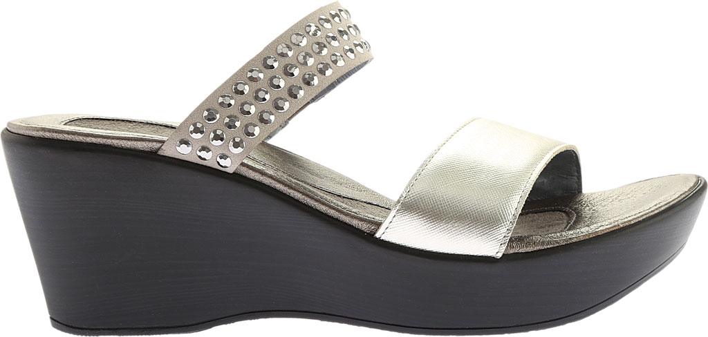 Women's Naot Response Wedge Sandal, Luster Leather/Gray with Silver Rhinestone, large, image 2