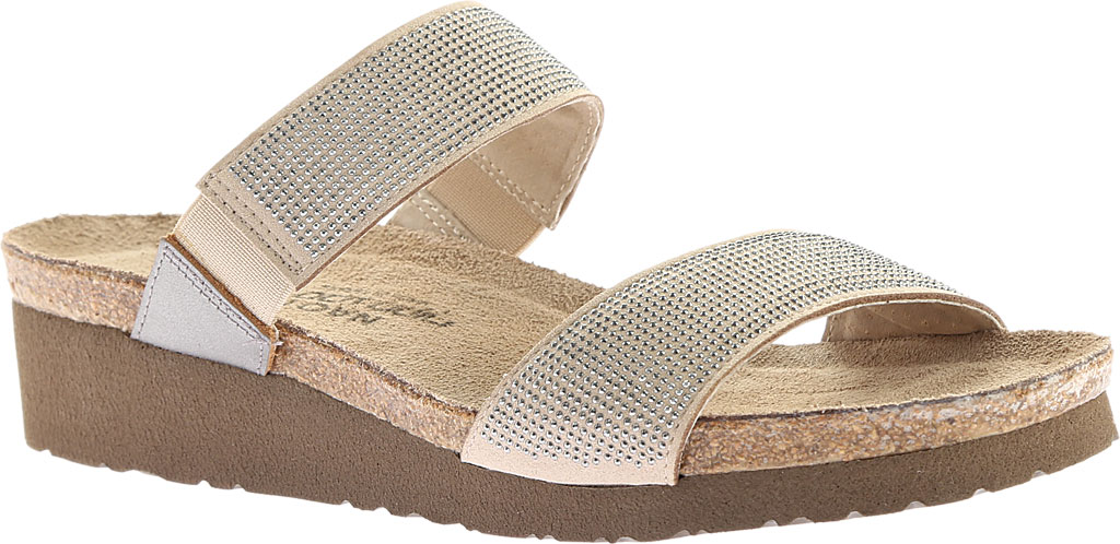 Women's Naot Bianca Slide Sandal, Beige with Silver Rivets/Mirror Leather, large, image 1