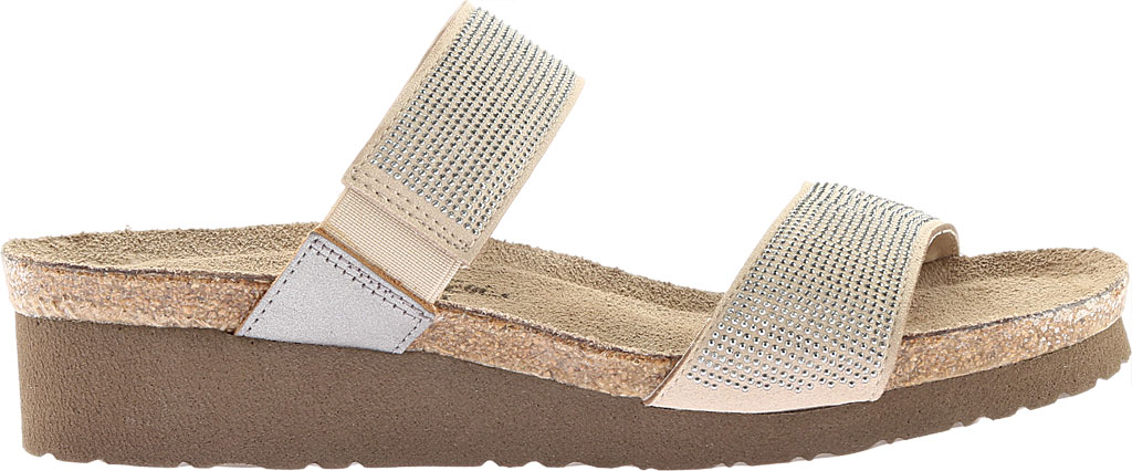 Women's Naot Bianca Slide Sandal, Beige with Silver Rivets/Mirror Leather, large, image 2