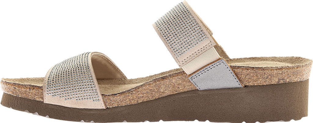 Women's Naot Bianca Slide Sandal, Beige with Silver Rivets/Mirror Leather, large, image 3