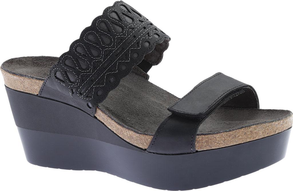 Women's Naot Rise Wedge Sandal, Oily Coal/Shadow Gray Nubuck, large, image 1