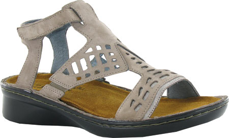 Women's Naot String Ankle Strap Sandal, Stone Nubuck/Silver Threads Leather, large, image 1
