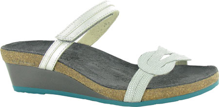 Women's Naot Folklore Slide Sandal, Silver Luster Leather/Sea Pearl Leather, large, image 1