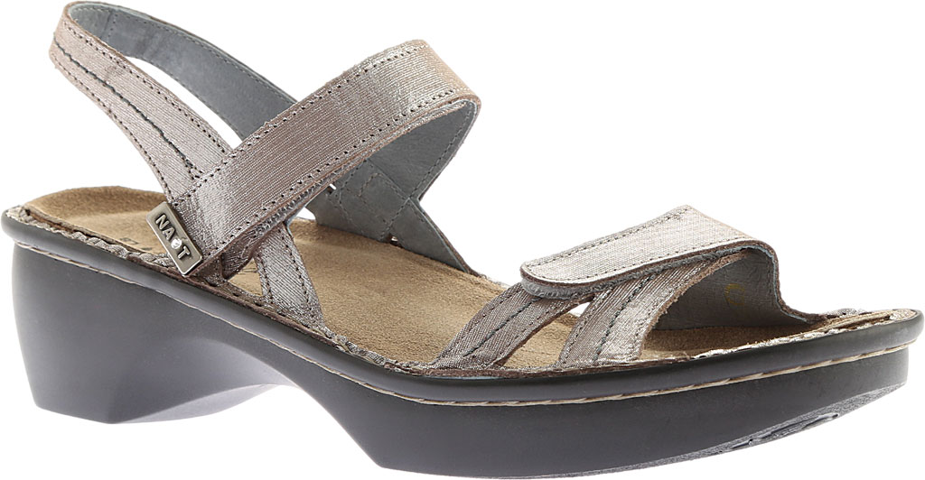 Women's Naot Brussels Adjustable Strap Sandal, Silver Threads Leather, large, image 1