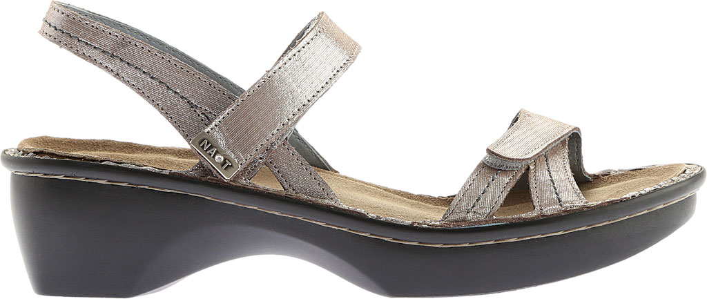 Women's Naot Brussels Adjustable Strap Sandal, Silver Threads Leather, large, image 2