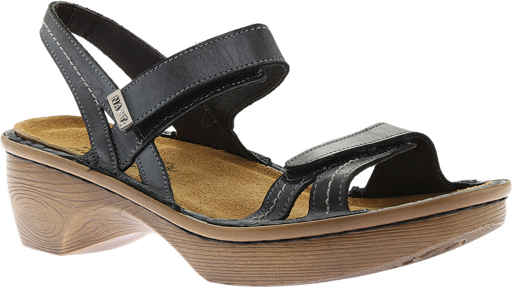 Women's Naot Brussels Adjustable Strap Sandal, Vintage Ash Leather with Wood Sole, large, image 1