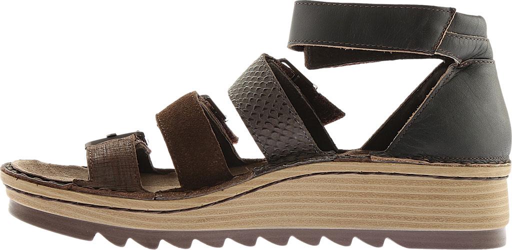 Women's Naot Begonia Ankle Strap Sandal, Mine Brown/Brown Croc/Volcanic Brn Lthr/Hash Suede, large, image 3