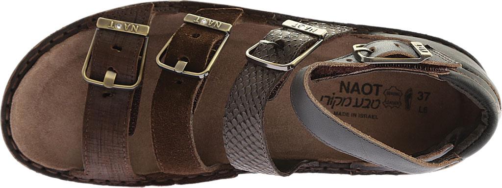 Women's Naot Begonia Ankle Strap Sandal, Mine Brown/Brown Croc/Volcanic Brn Lthr/Hash Suede, large, image 5