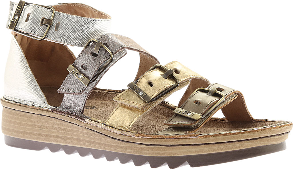 Women's Naot Begonia Ankle Strap Sandal, Pewter/Gold/Satin Gold/Silver Luster Leather, large, image 1
