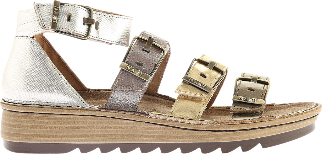 Women's Naot Begonia Ankle Strap Sandal, Pewter/Gold/Satin Gold/Silver Luster Leather, large, image 2