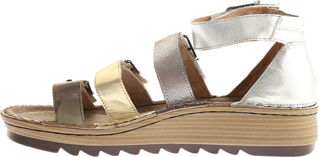 Women's Naot Begonia Ankle Strap Sandal, Pewter/Gold/Satin Gold/Silver Luster Leather, large, image 3