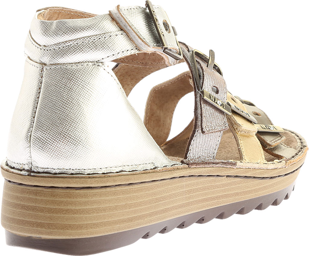 Women's Naot Begonia Ankle Strap Sandal, Pewter/Gold/Satin Gold/Silver Luster Leather, large, image 4