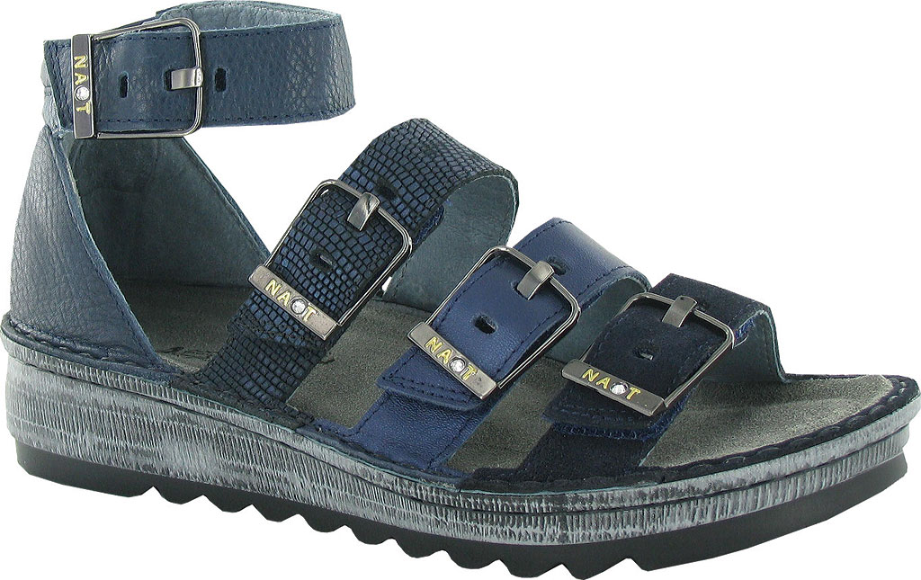 Women's Naot Begonia Ankle Strap Sandal, Blue Velvet Suede/Polar Sea/Navy/Ink Leather, large, image 1