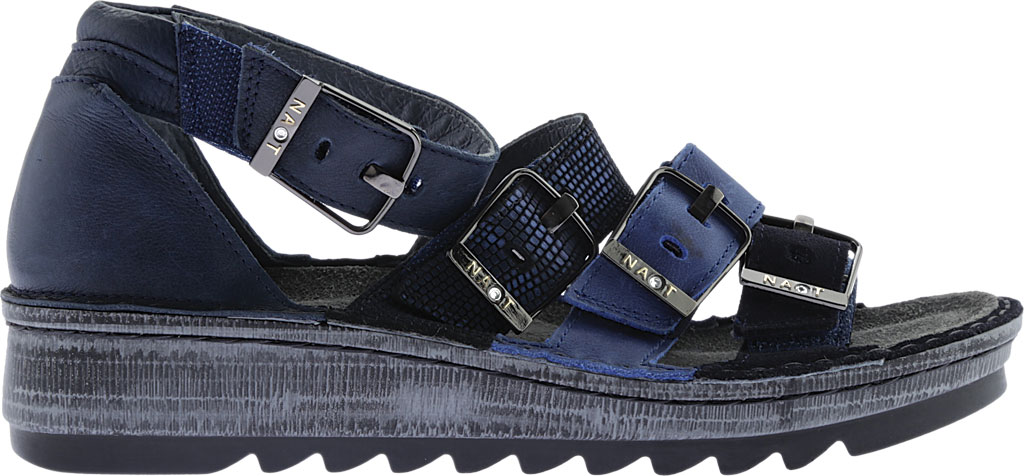 Women's Naot Begonia Ankle Strap Sandal, Blue Velvet Suede/Polar Sea/Navy/Ink Leather, large, image 2