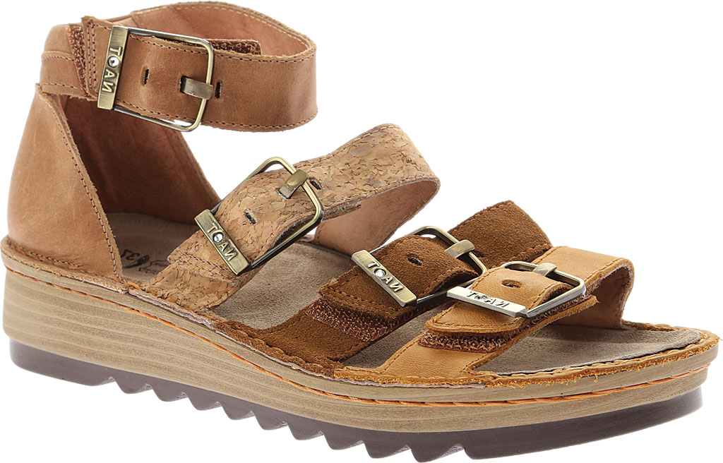 Women's Naot Begonia Ankle Strap Sandal, Oily Dune Nubuck/Desert Suede/Latte Brown Leather, large, image 1
