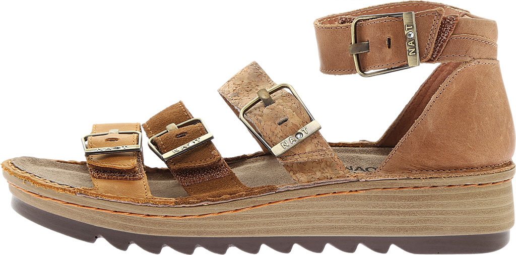 Women's Naot Begonia Ankle Strap Sandal, Oily Dune Nubuck/Desert Suede/Latte Brown Leather, large, image 3