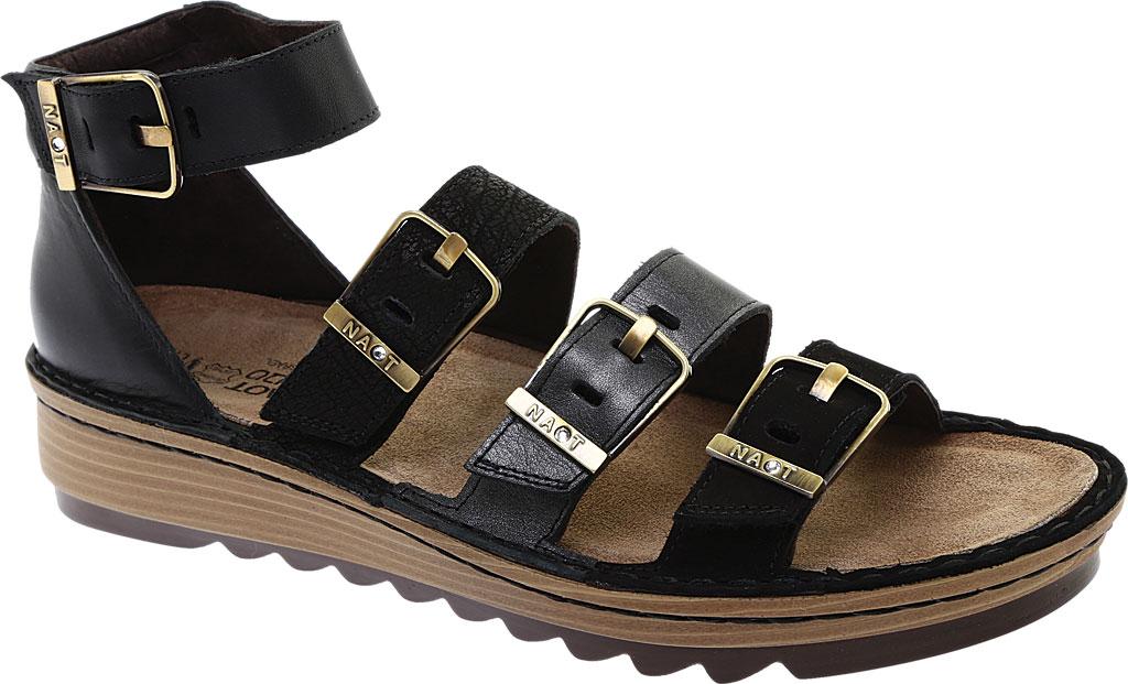 Women's Naot Begonia Ankle Strap Sandal, Black Velvet/Mtl Rd/Black Crkle Comb Leather, large, image 1