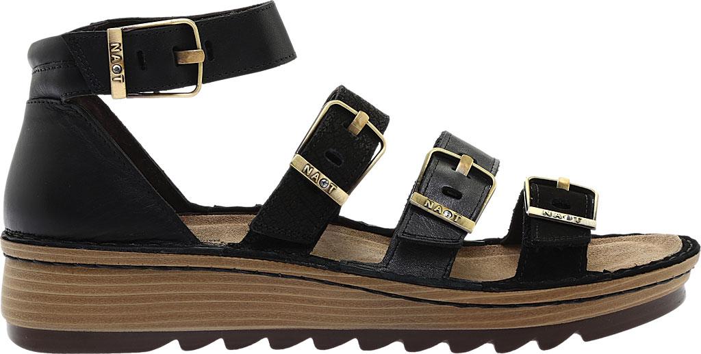 Women's Naot Begonia Ankle Strap Sandal, Black Velvet/Mtl Rd/Black Crkle Comb Leather, large, image 2