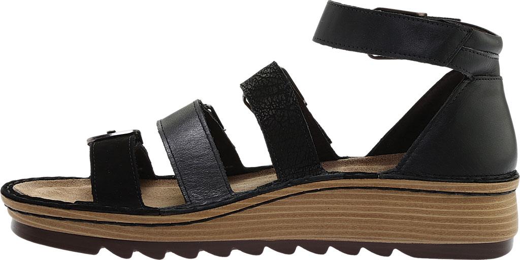 Women's Naot Begonia Ankle Strap Sandal, Black Velvet/Mtl Rd/Black Crkle Comb Leather, large, image 3