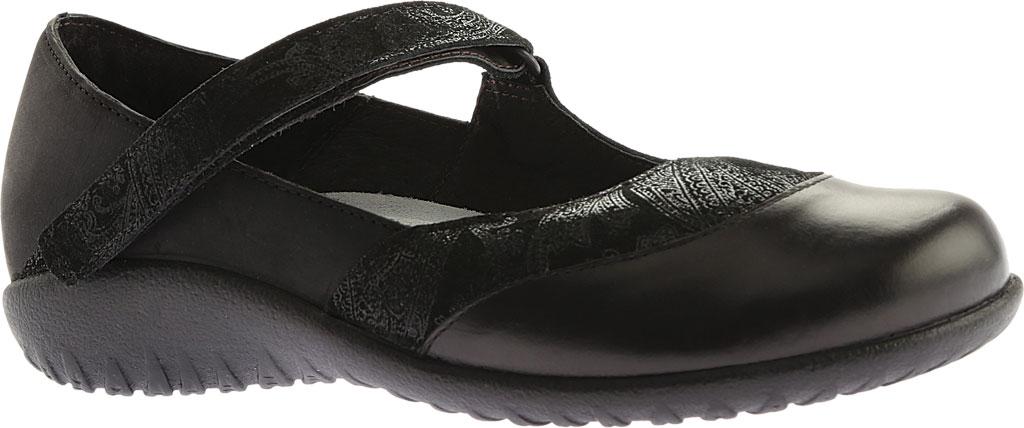 Women's Naot Luga Mary Jane, Black Lace/Oily Coal/Black Madras Nubuck/Leather, large, image 1