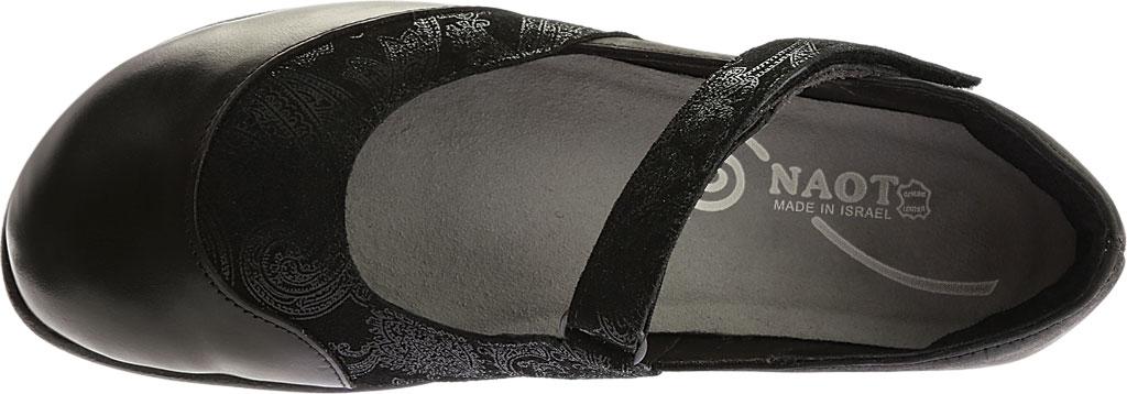 Women's Naot Luga Mary Jane, Black Lace/Oily Coal/Black Madras Nubuck/Leather, large, image 5