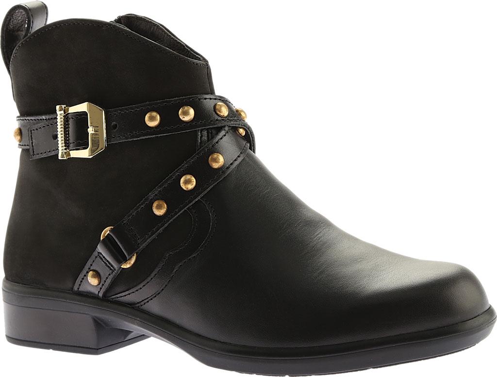 Women's Naot Taku Ankle Boot, Black Raven/Black Velvet Nubuck/Black Madras, large, image 1