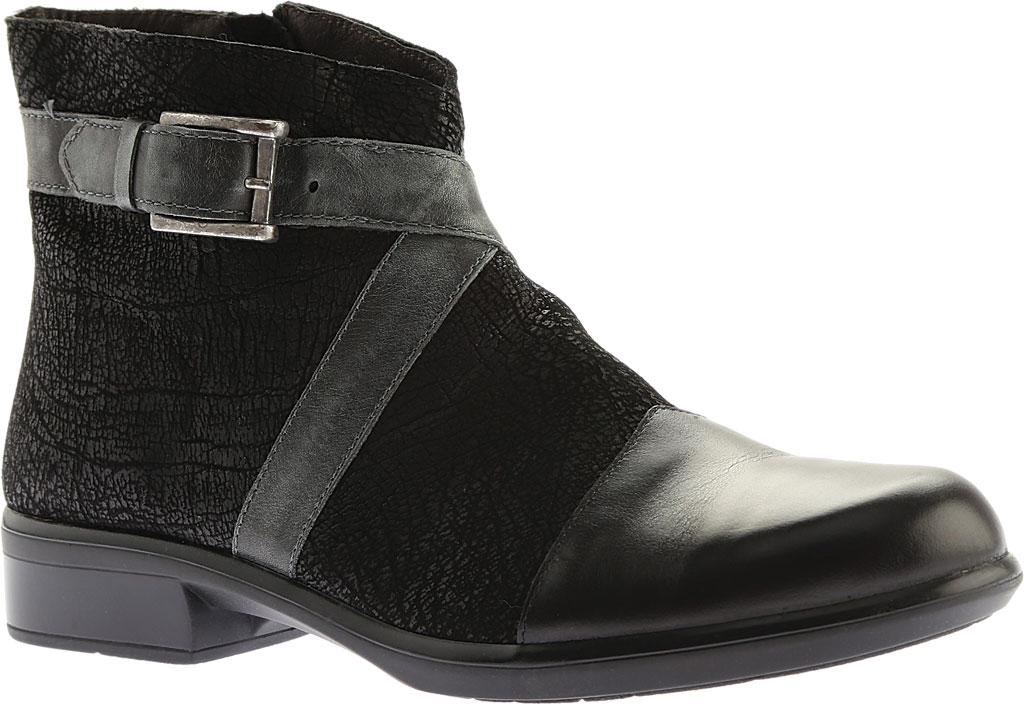 Women's Naot Boreas Ankle Boot, Black Madras/Black Crackle/Smoke Leather, large, image 1
