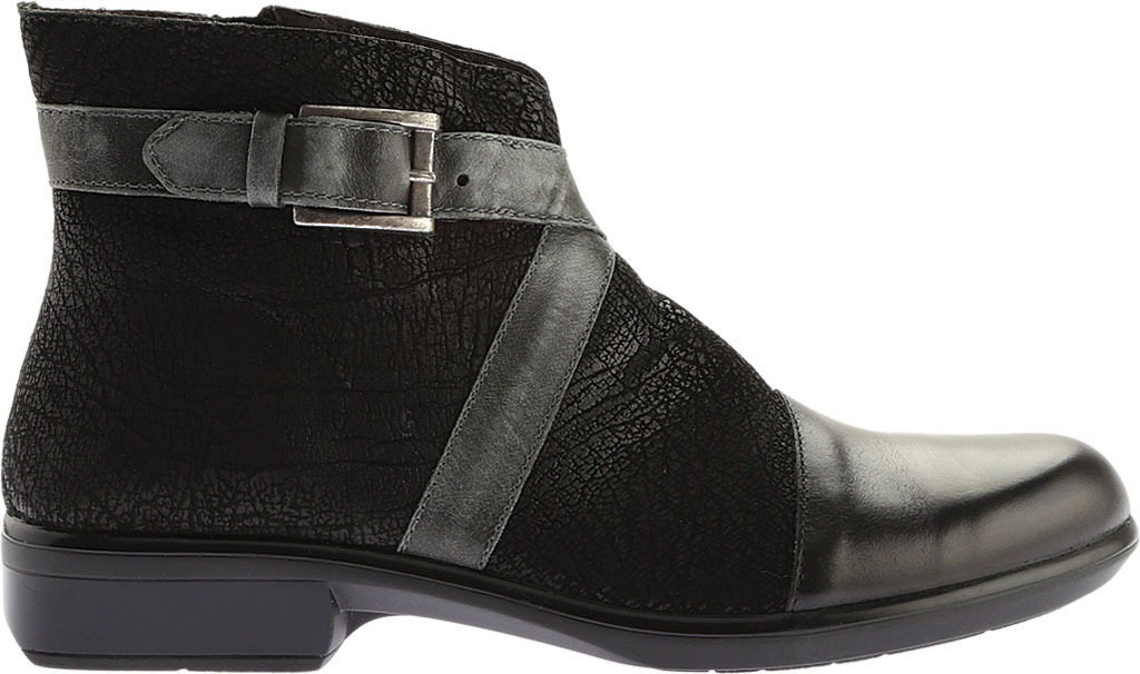 Women's Naot Boreas Ankle Boot, Black Madras/Black Crackle/Smoke Leather, large, image 2