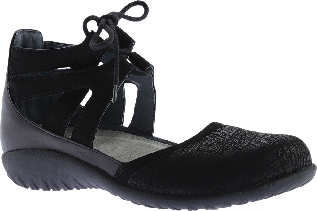 Women's Naot Kata Gladiator Sandal, Black Crackle/Raven Leather/Black Velvet Nubuck, large, image 1