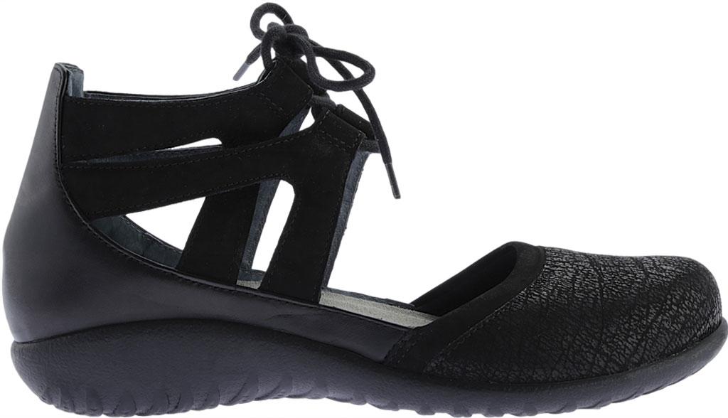 Women's Naot Kata Gladiator Sandal, Black Crackle/Raven Leather/Black Velvet Nubuck, large, image 2