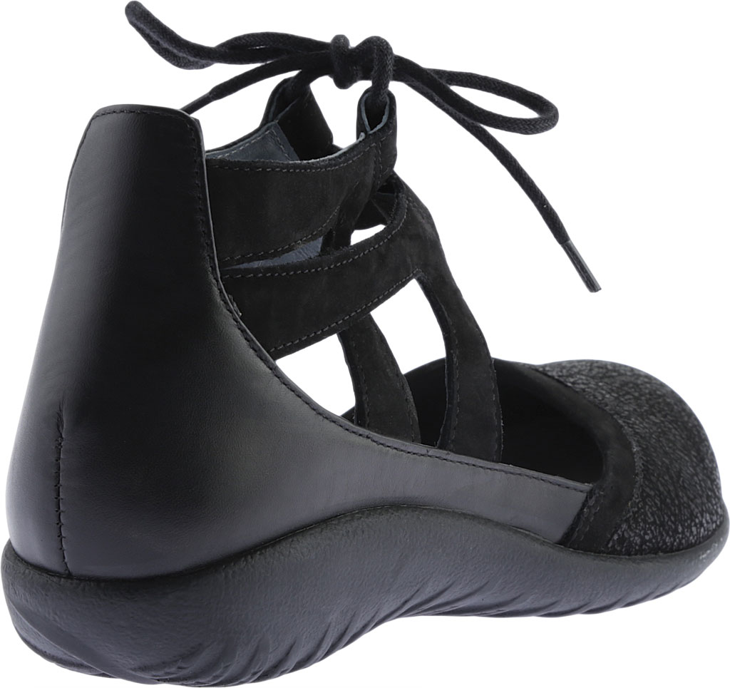 Women's Naot Kata Gladiator Sandal, Black Crackle/Raven Leather/Black Velvet Nubuck, large, image 4